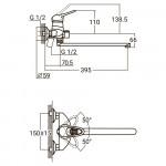 Смеситель для ванны NM Ø40 гусак прямой 350мм дивертор встроенный картриджный Aquatica NK-2C232C