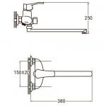 """Смеситель для ванны VN 1/2"""" гусак прямой 400мм дивертор встроенный картриджный Aquatica NM-2C234C"""