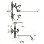 """Смеситель для ванны PL 1/2"""" гусак изогнутый дивертор встроенный шаровый  AQUATICA (PL-5C455C)"""