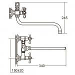 """Смеситель для ванны QN 1/2"""" гусак изогнутый дивертор встроенный шаровый  AQUATICA (PM-5C457C)"""
