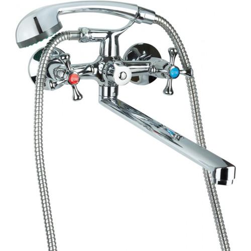 """Смеситель для ванной VN 1/2"""" гусак прямой 350мм дивертор встроенный картриджный TAU VN-2C260C"""